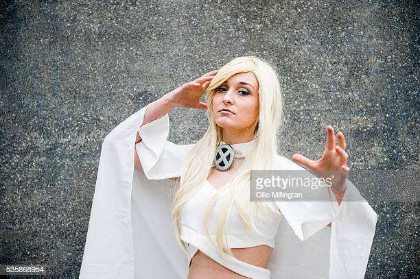A cosplay enthusiast as storm from XMen on Day 2 of MCM London Comic Con at The London ExCel on May 28 2016 in London England