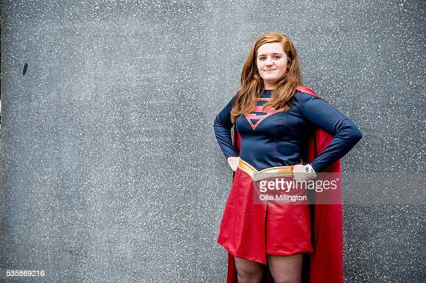 A cosplay enthusiast as Superwoman on Day 2 of MCM London Comic Con at The London ExCel on May 28 2016 in London England
