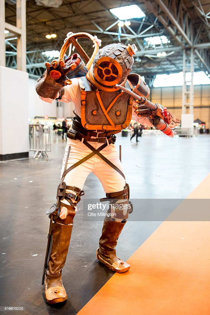 A cosplay enthusiast attending as a Bioshock character on the 2nd day of Comic Con 2016 on March 20, 2016 in Birmingham, United Kingdom.