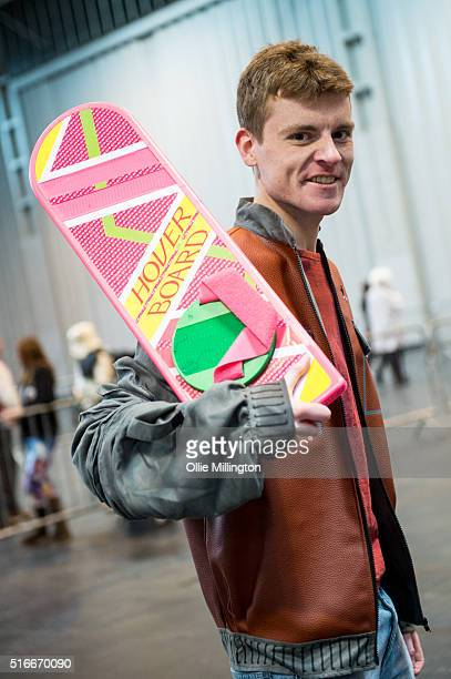 A cosplay enthusiast attending as aMarty McFly from the back to the future series on the 2nd day of Comic Con 2016 on March 20 2016 in Birmingham...