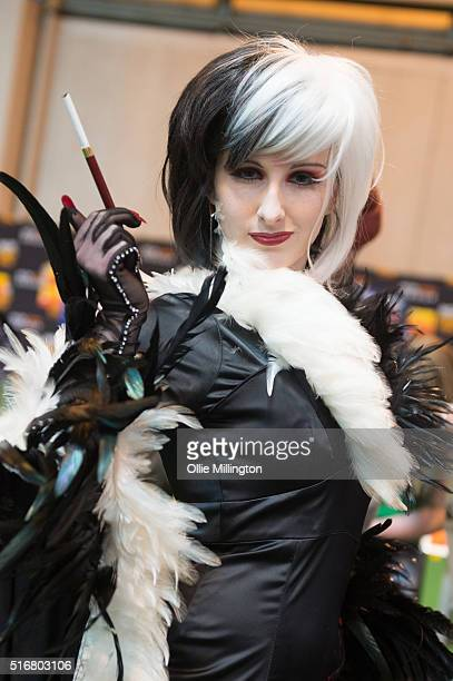 Cosplay enthusiast attending as Cruella de Vil on the 2nd day of Comic Con 2016 on March 20 2016 in Birmingham United Kingdom