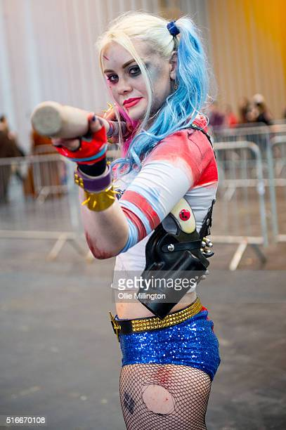 A cosplay enthusiast attending as Harley Quinn on the 2nd day of Comic Con 2016 on March 20 2016 in Birmingham United Kingdom