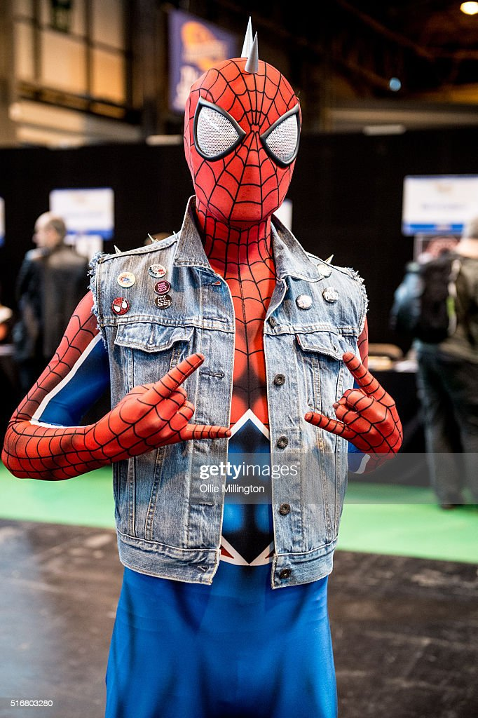 A Cosplay enthusiast attending as Spider man on the 2nd day of Comic Con 2016 on March 20, 2016 in Birmingham, United Kingdom.