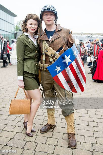 A cosplay enthusiast couple dressed as Peggy Carter and Captain America on Day 2 of MCM London Comic Con at The London ExCel on May 28 2016 in London...