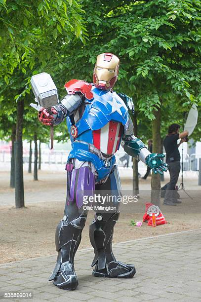 Cosplay enthusiast dressed as A aptain america thor hybrid on Day 2 of MCM London Comic Con at The London ExCel on May 28 2016 in London England