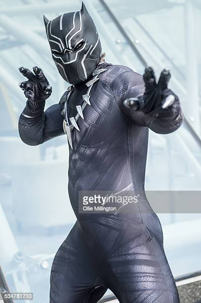 Cosplay enthusiast dressed as Black Panther on Day 1 of MCM London Comic Con at The London ExCel on May 27 2016 in London England