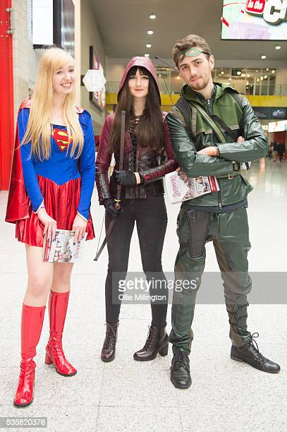 Cosplay enthusiast dressed as Super Woman The Hood and The Arrow seen on Day 2 of MCM London Comic Con at The London ExCel on May 28 2016 in London...