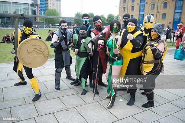 Cosplay enthusiast dressed as the cast of Mortal Kombat on Day 2 of MCM London Comic Con at The London ExCel on May 28 2016 in London England