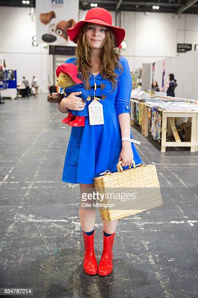 Cosplay enthusiast in character as Paddington Bear on Day 1 of MCM London Comic Con at The London ExCel on May 27 2016 in London England