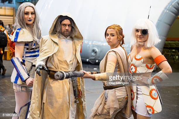 Cosplay enthusiasts attend as R2d2 Luke Skywalker Rey and BB8 from Star Wars on the 2nd day of Comic Con 2016 on March 20 2016 in Birmingham United...
