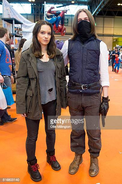 Cosplay enthusiasts attending as Maggie Green and Jesus from The Walking Dead on the 2nd day of Comic Con 2016 on March 20 2016 in Birmingham United...