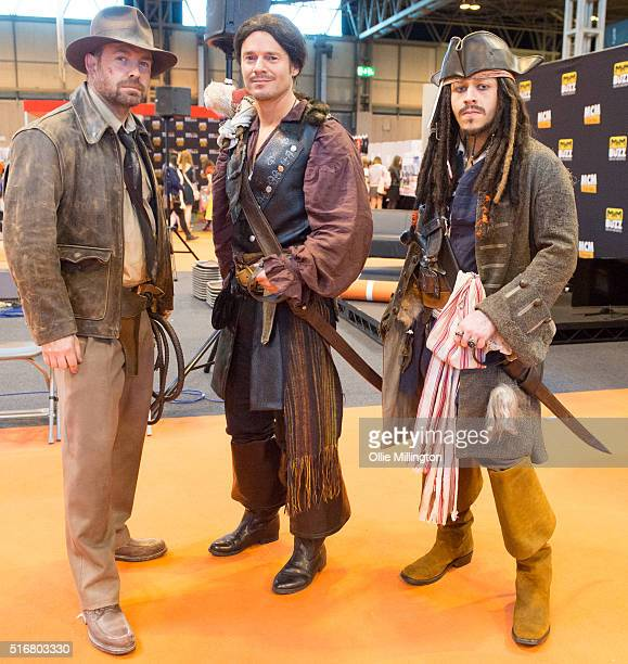 Cosplay enthusiasts attending in character as Indiana Jones D'Artagnan from The Three Muskateers and Captain Jack Sparrow from Pirates of the...