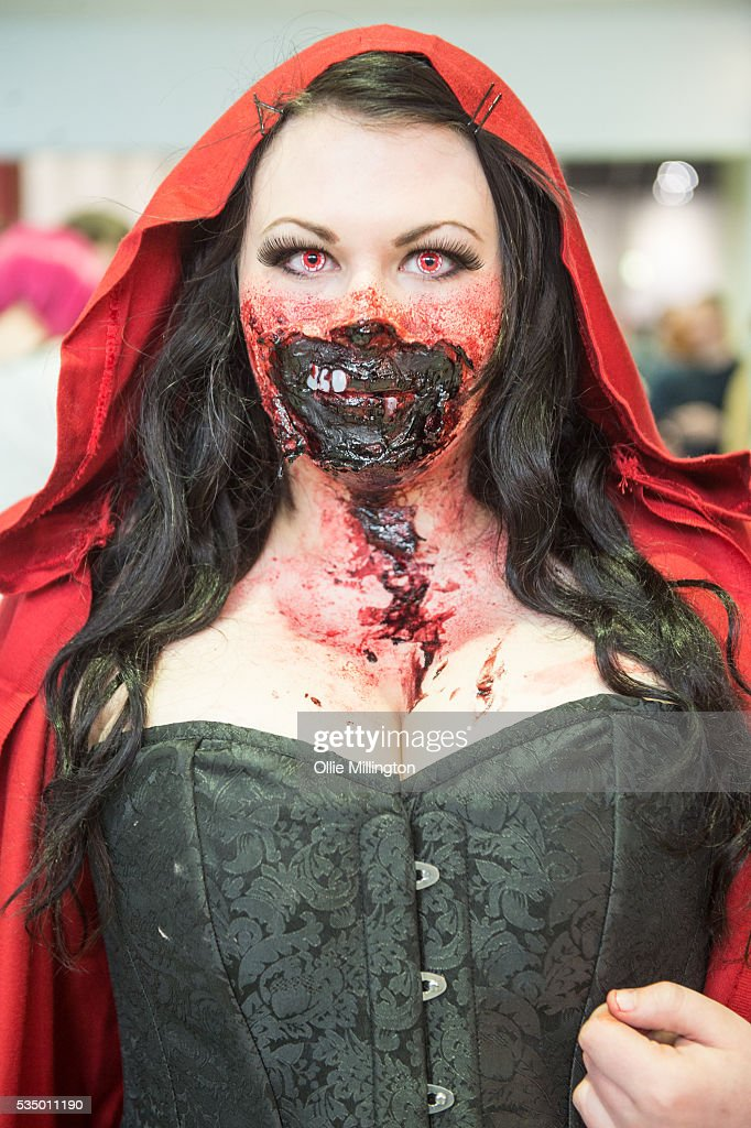 A cosplay enthusiasts dressed as a Zombie Red Riding Hood on Day 2 of MCM London Comic Con at The London ExCel on May 28, 2016 in London, England.