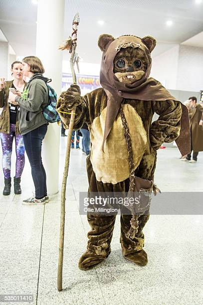 A cosplay enthusiasts dressed as an Ewok from Star Wars on Day 2 of MCM London Comic Con at The London ExCel on May 28 2016 in London England