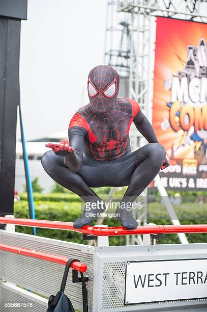 A cosplay enthusiasts dressed as SpiderMan on Day 2 of MCM London Comic Con at The London ExCel on May 28 2016 in London England