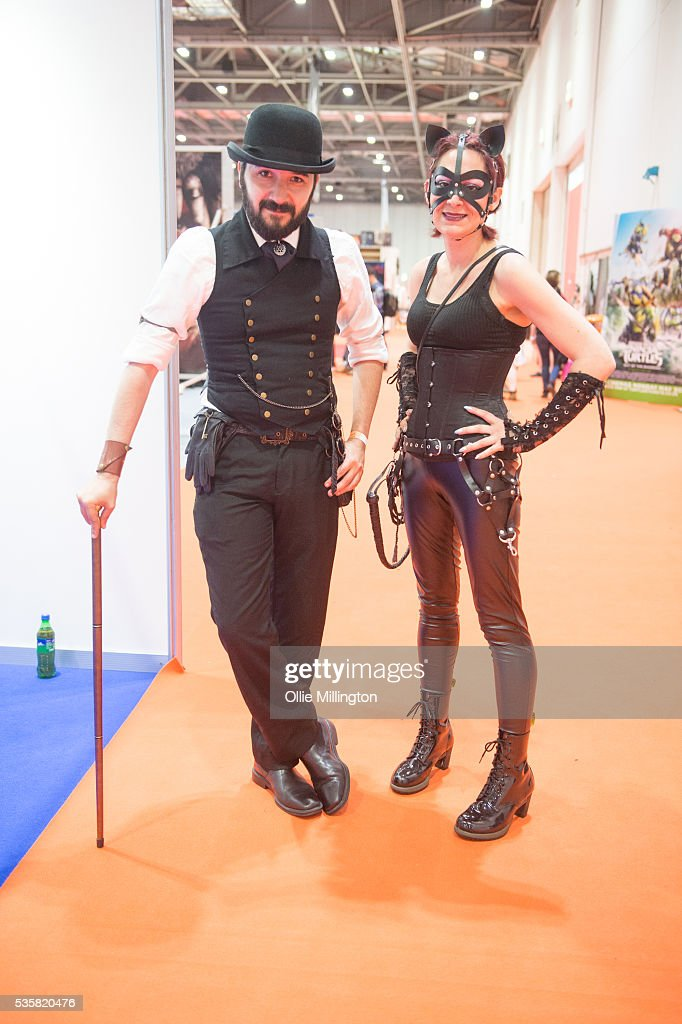 Cosplay enthusiasts dressed as steam punks seen on Day 2 of MCM London Comic Con at The London ExCel on May 28, 2016 in London, England.