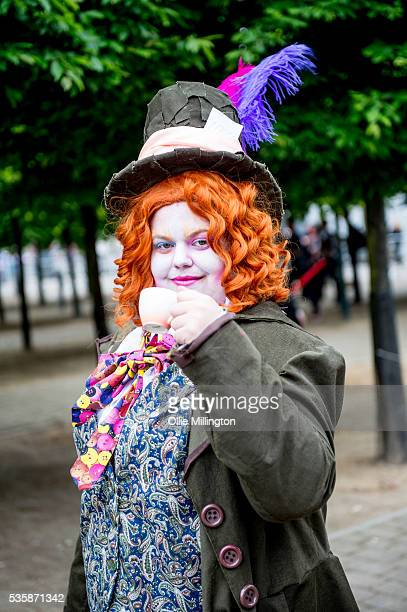 Cosplay enthusiasts dressed as The Mad Hatter on day 2 at The London ExCel on May 28 2016 in London England