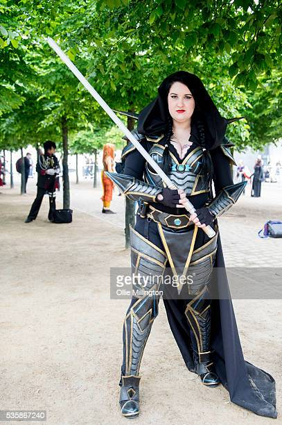 A cosplay enthusiasts dressed in character on Day 2 of MCM London Comic Con at The London ExCel on May 28 2016 in London England