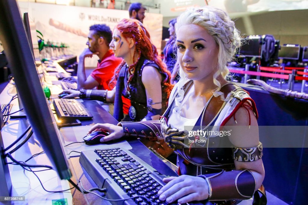 Cosplay enthusiasts try out a virtual reality game at the Gamescom 2017 gaming trade fair on August 22, 2017 in Cologne, Germany. Gamescom is the world's largest digital gaming trade fair and will be open to the public from August 22-26.