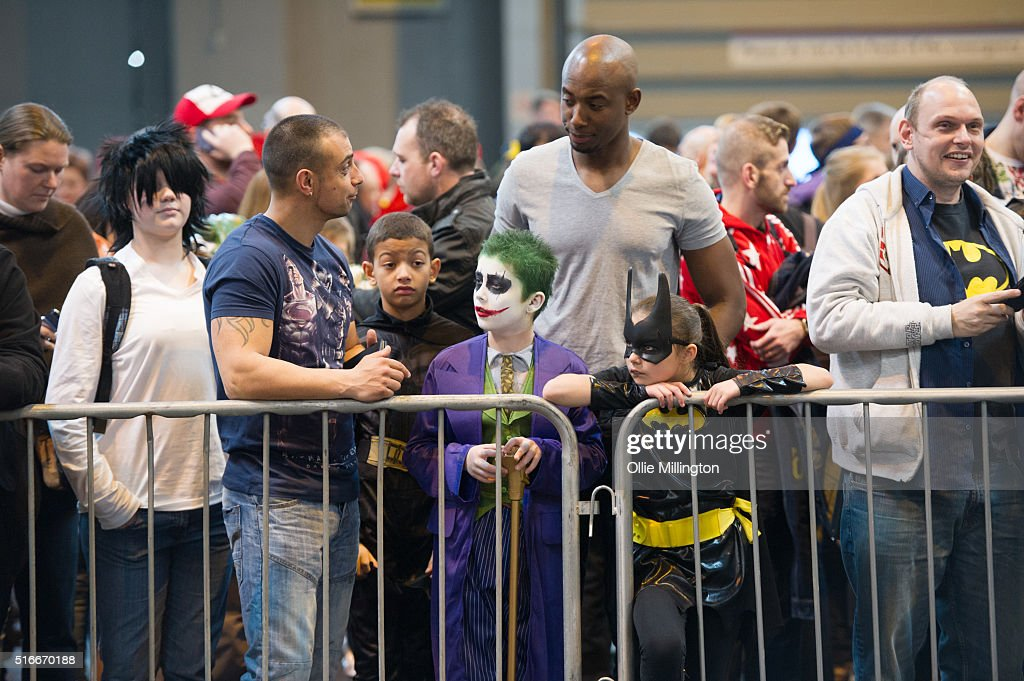 A Cosplay enthusiasts waiting for general admition on the 2nd day of Comic Con 2016 on March 20, 2016 in Birmingham, United Kingdom.