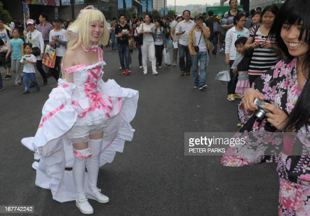 Cosplay fans attend the 9th China International Cartoon and Animation Festival in Hangzhou on April 29 2013 The annual festival runs from April 25 to...