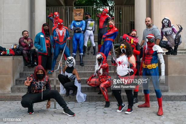 Cosplay fans dressed up as superheroes and villains pose in Union Square as the city continues Phase 4 of re-opening following restrictions imposed...