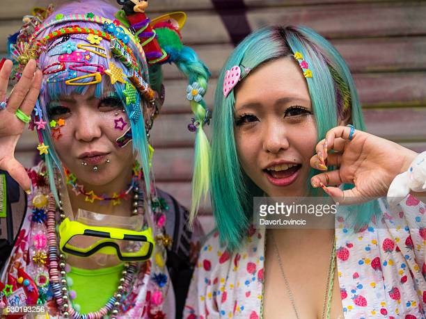 cosplay girls at harajuku'stakeshite street in tokyo - cosplay stock pictures, royalty-free photos & images