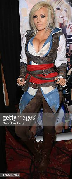 Cosplay model and gamer Jessica Nigri as the character Edward Kenway attends the Amazing Las Vegas Comic Con at the South Point Hotel Casino on June...