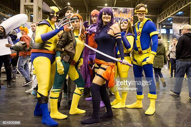 Cosplay team dressed as The Xmen including Wolverine, Rogue, Gambit, Magneto and Cyclops during day 1 of the November Birmingham MCM Comic Con at the...