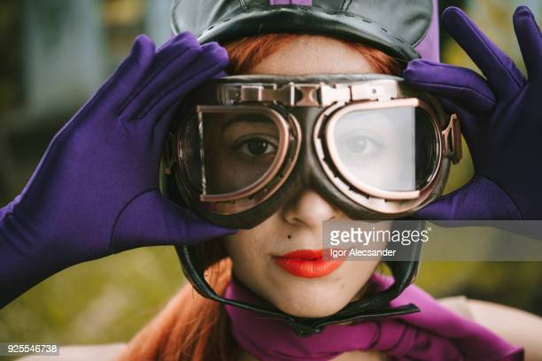 cosplay vintage young woman - purple glove stock pictures, royalty-free photos & images