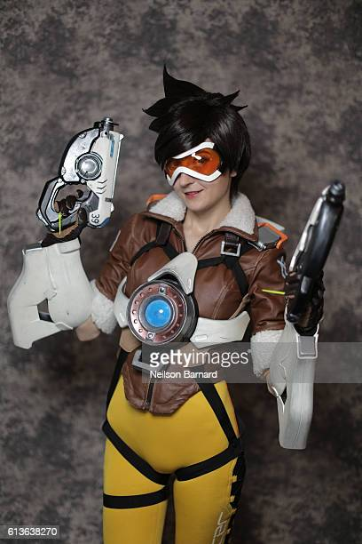 Cosplayer Agota Gudelyte as Tracer from Overwatch backstage before being judged for the NYCC Eastern Championships of Cosplay during 2016 New York...