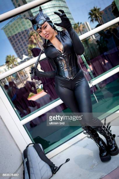 Cosplayer Annie Cruz from Los Angeles as 'Cat woman' at the ComicCon