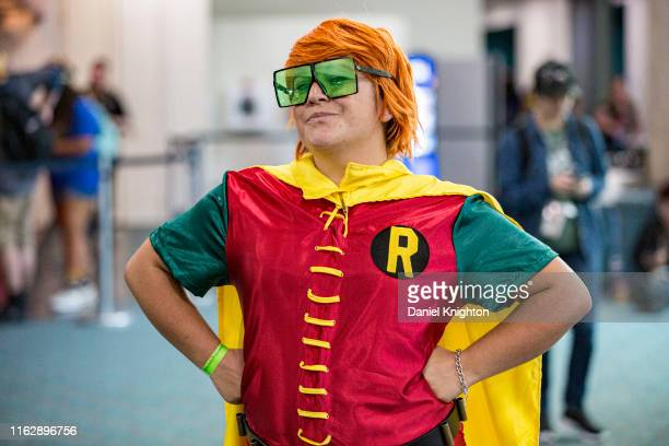 """Cosplayer Arielle Barels dressed as Robin from """"Batman: The Dark Knight Returns"""" at 2019 Comic-Con International at 2019 Comic-Con International on..."""