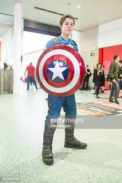 A cosplayer as Captain America on day 1 of the MCM London Comic Con at ExCel on October 28 2016 in London England