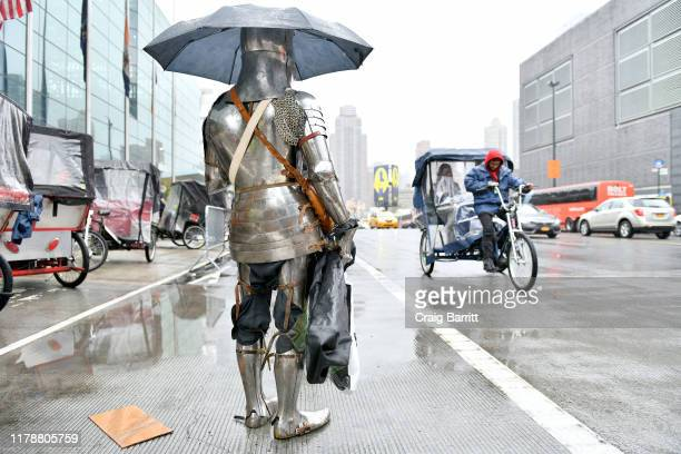 Cosplayer as Royal Knight is seen outside on the street as he attends the New York Comic Con at Jacob K. Javits Convention Center on October 03, 2019...