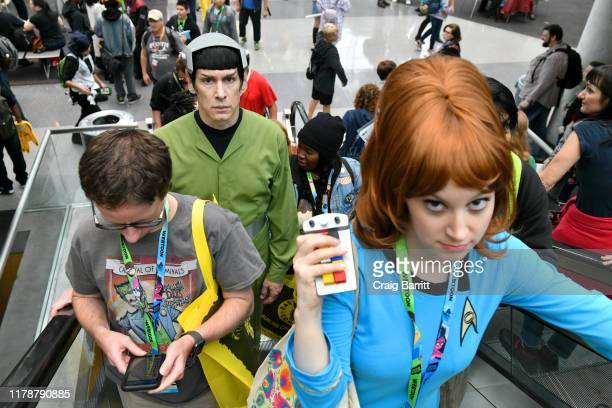 Cosplayer as Spock arrives at New York Comic Con at Jacob K. Javits Convention Center on October 03, 2019 in New York City.