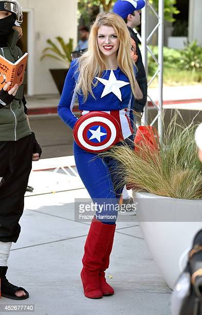 A cosplayer attends ComicCon International 2014 on July 25 2014 in San Diego California