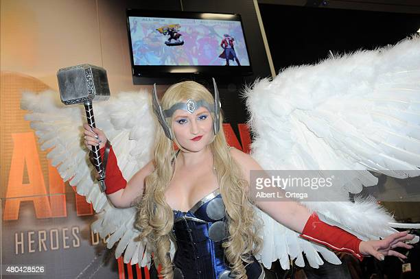 A cosplayer attends ComicCon International 2015 on July 11 2015 in San Diego California
