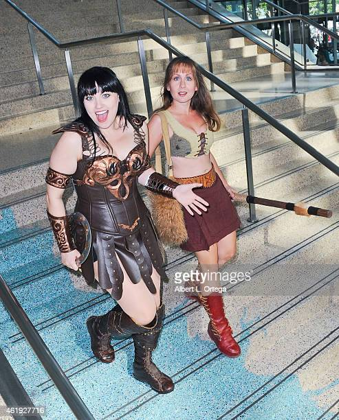 Cosplayer Bernadette Bentley as Xena Warrior Princess and Gabrielle attend Day 2 of the Third Annual Stan Lee's Comikaze Expo held at Los Angeles...