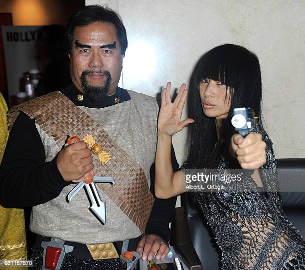 Cosplayer Bill Arucan and actress Bai Ling attend The Hollywood Show held at The Westin Los Angeles Airport on January 7 2017 in Los Angeles...