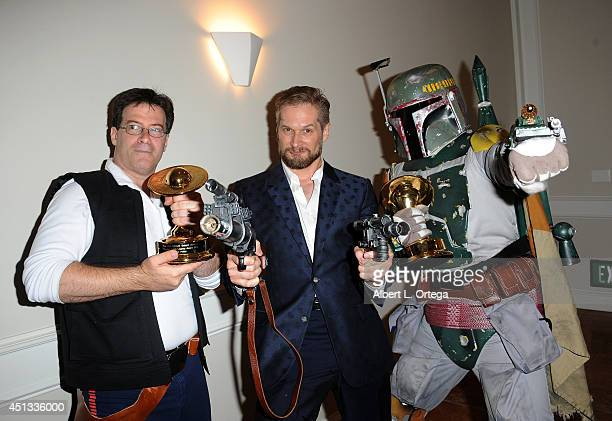 Cosplayer Brian Sikoff producer Bryan Fuller and Boba Fett of Dark Side Riders attend the After Party for the 40th Annual Saturn Awards held at on...