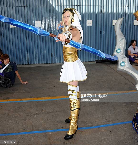 Cosplayer Christina Sims as Ash from'League Of Legends' attends the Anime Expo 2013 held at The Los Angeles Convention Center on July 6 2013 in Los...