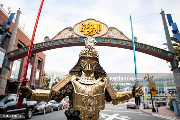 Cosplayer Christopher Canole, dressed as Dude Vader, poses in front of the Gaslamp Quarter sign on July 22, 2020 in San Diego, California. 2020...