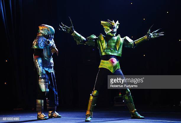 Cosplayer contestants perform in Grand Final Cosplay Clash Competition on June 21 2014 in Jakarta Indonesia Clash is the Indonesian national cosplay...