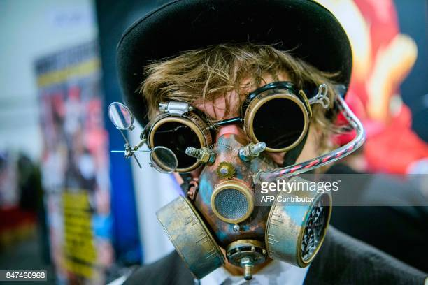 A cosplayer dressed as a fantasy and science fiction character attends the first day of the Stockholm Comic Con in Kistamassan fair venue north of...