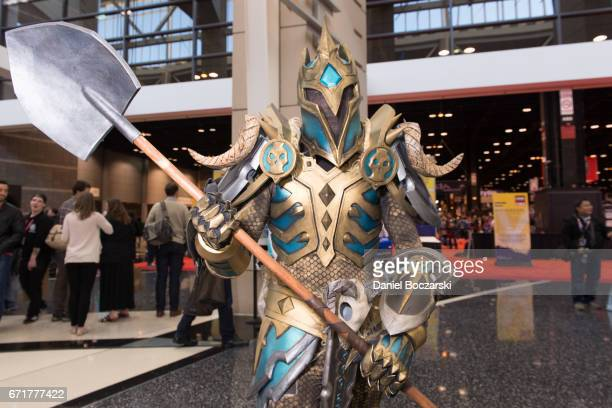 """Cosplayer dressed as a Tier 19 Death Knight from """"World of Warcraft"""" attends the C2E2 Crown Champions of Cosplay at McCormick Place on April 22, 2017..."""