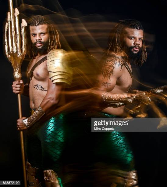 A cosplayer dressed as Aquaman at the 2017 New York Comic Con Day 3 on October 7 2017 in New York City