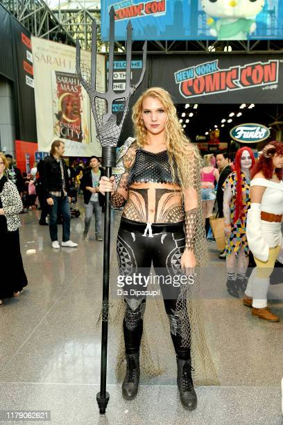 A cosplayer dressed as Aquaman attends New York Comic Con 2019 Day 2 at Jacobs Javits Center on October 04 2019 in New York City