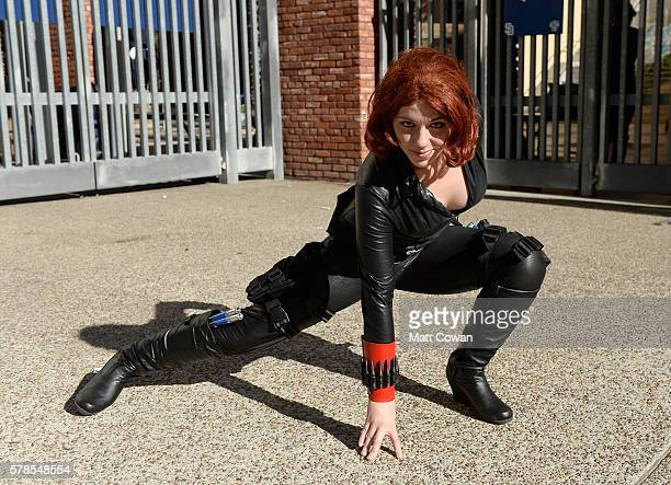 Cosplayer dressed as Black Widow from Avengers attends during ComicCon International on July 21 2016 in San Diego California