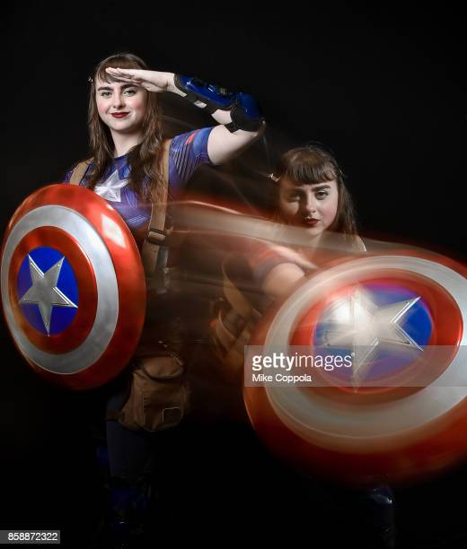 A cosplayer dressed as Captain America at the 2017 New York Comic Con Day 3 on October 7 2017 in New York City